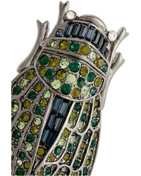 Kenneth Jay Lane - Green Gunmetal-Plated Crystal Brooch - Lyst