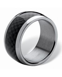 Palmbeach Jewelry - Metallic Men's Black Checkerboard Motif Band In Ion-plated Stainless Steel Sizes 7-16 for Men - Lyst