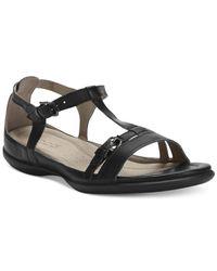 Ecco - Black Women's Flash T-strap Sandals - Lyst