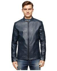 Calvin Klein Jeans | Black Quilted Moto Jacket for Men | Lyst