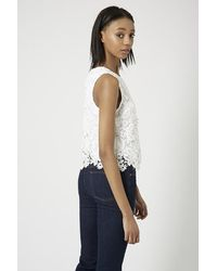 TOPSHOP - White Tall 3D Lace Shell Top - Lyst
