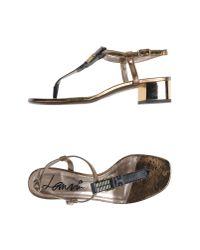 Lanvin - Metallic Thong Sandal - Lyst