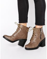 London Rebel - Brown Worker Lace Up Heeled Ankle Boots - Lyst
