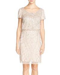 Adrianna Papell | Gray Beaded Blouson Dress | Lyst