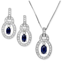 Macy's | Metallic Sterling Silver Necklace And Earrings, Sapphire (1-1/8 Ct. T.w.) And Diamond Accent Oval Pendant And Drops Set | Lyst
