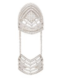 Fallon - Metallic Pave Labyrinth Double Ring Silver - Lyst