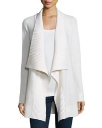 Neiman Marcus - White Mixed-stitch Draped Cashmere Cardigan - Lyst