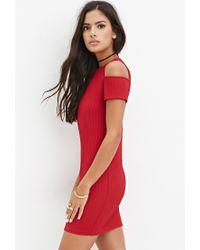 Forever 21 - Red Open-shoulder Ribbed Dress - Lyst