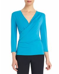 Ellen Tracy | Blue Surplice Wrap Top | Lyst