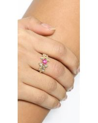 Jacquie Aiche - Metallic Ruby Vintage Leaves Ring - Ruby/Gold - Lyst