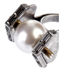 Lanvin | Metallic Crystal And Faux-Pearl Ring | Lyst