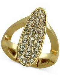 T Tahari | Metallic Crystal Oval Stretch Ring | Lyst