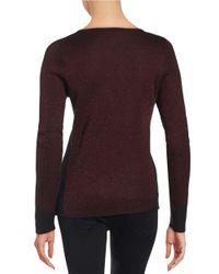 Anne Klein | Red Knit Sparkle Sweater | Lyst