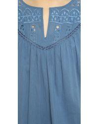 Love Sam - Blue Eyelet Cotton Voile Dress - Lyst