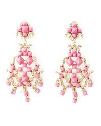 Valentino | Pink 'rockstud' Chandelier Clip-on Earrings | Lyst