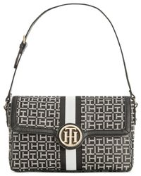 Tommy Hilfiger | Black Maggie Monogram Jacquard Grosgrain Small Convertible Satchel | Lyst