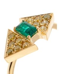 Nikos Koulis - Metallic Yellow-Diamond, Emerald & Yellow-Gold Ring - Lyst