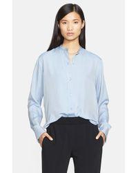 Helmut Lang | Blue Matte Silk Twill Shrunken Shirt | Lyst
