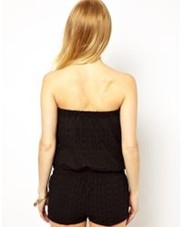Traffic People | Black A Naughty Day Broderie Anglaise Playsuit | Lyst