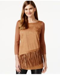INC International Concepts | Brown Petite Faux-suede Fringe Top, Only At Macy's | Lyst