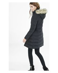 Express | Black Long Down Filled Toggle Puffer Coat | Lyst