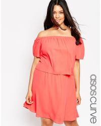 ASOS | Pink Gypsy Off Shoulder Dress | Lyst