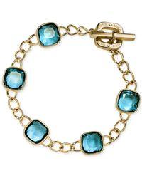 Michael Kors | Gold-Tone Blue Crystal Link Bracelet | Lyst