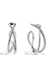 David Yurman - Metallic Crossover Hoop Earrings - Lyst