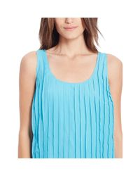 Ralph Lauren | Blue Pleated Sleeveless Dress | Lyst