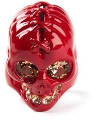 Alexander McQueen | Red Embellished Ring for Men | Lyst