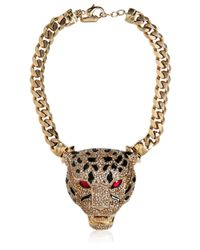 Roberto Cavalli | Metallic Panther Necklace with Swarovski Crystals | Lyst