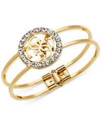Guess - Metallic Logo And Crystal Two-row Bangle Bracelet - Lyst