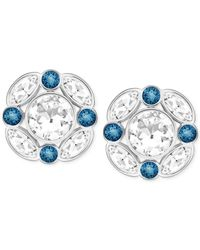 Swarovski | Silver-tone Blue And White Crystal Two-part Earrings | Lyst