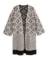 H&M - White Jacquard-Knit Cardigan - Lyst