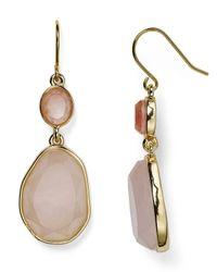Carolee - Pink Double Drop Stone Earrings - Lyst