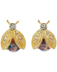 Kenneth Jay Lane - Metallic Polished Gold/crystal/pink Opal Bee Clip Earrings - Lyst