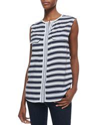 d114f78c4d01dd Lyst - Equipment Lynn Striped Sleeveless Silk Blouse in Black