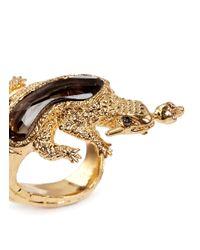 Alexander McQueen Metallic Salamander Rock Crystal Ring
