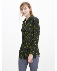 Banana Republic | Green Pieced Silk Boyfriend Shirt | Lyst
