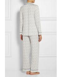 Eberjey | Blue Sleep Chic Printed Stretch-Jersey Pajama Set | Lyst