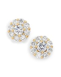 kate spade new york | Metallic Crystal Flower Stud Earrings - Clear | Lyst