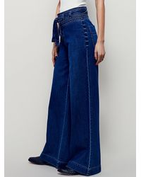 Free People | Blue Augusta Belted Flare | Lyst