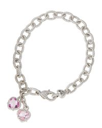 Judith Ripka - Metallic Pink Corundum Heart Charm Bracelet - Lyst