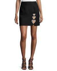 Christopher Kane - Black Heart-embroidered Mini Skirt - Lyst
