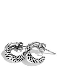 David Yurman | Metallic Labyrinth Single-loop Earrings With Diamonds | Lyst