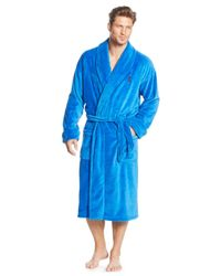 Polo Ralph Lauren | Blue Fleece Shawl Collar Robe for Men | Lyst