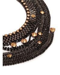 Iosselliani - Metallic Stones And Chain Bib Necklace - Lyst