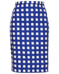 TOPSHOP | Blue Blurry Check Pencil Skirt | Lyst