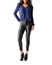 Guess | Blue V-neck Blouse | Lyst