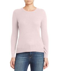 Lord & Taylor | Pink Basic Crewneck Cashmere Sweater | Lyst
